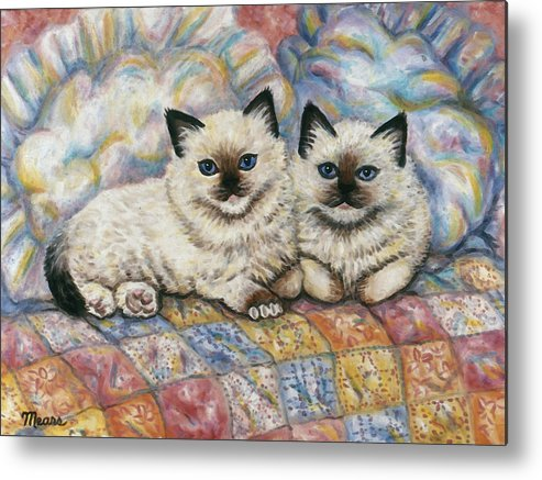 Cat Metal Print featuring the painting Pillow Mates by Linda Mears