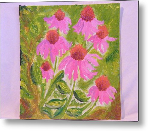 Flowers Metal Print featuring the painting Pink Sunshine by Margaret G Calenda