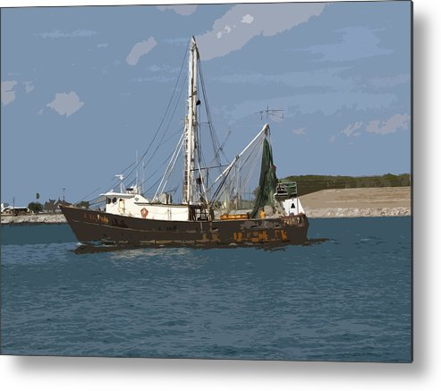 Boat Metal Print featuring the painting Pirate One by Allan Hughes