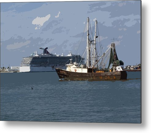 Boat Metal Print featuring the painting Pirate Two by Allan Hughes
