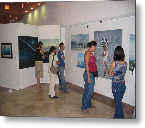 Plaza Pelicanos Exhibition Metal Print featuring the photograph Plaza Pelicanos by Angel Ortiz
