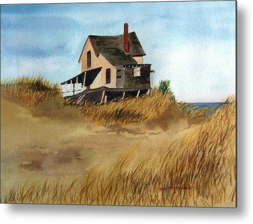 Landscape Metal Print featuring the print Plum Island Shack by Anne Trotter Hodge