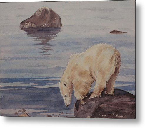 Polar Bear Metal Print featuring the painting Polar Bear Fishing by Debbie Homewood