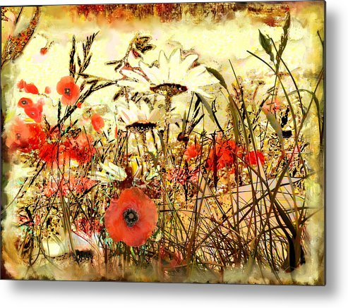 Papaver Metal Print featuring the painting Poppies In Waving Corn by Anne Weirich