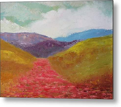 Landscape Metal Print featuring the painting Poppy Field by Belinda Consten