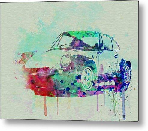 Porsche 911 Metal Print featuring the painting Porsche 911 Watercolor 2 by Naxart Studio