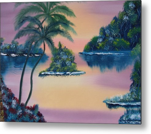 Landscape Oil Trees Seaside Sunset Metal Print featuring the painting Postcard From The Keys by Warren Thompson