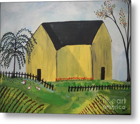 Folk Primitive Art Farm House Chickens Trees Metal Print featuring the painting Primitive Folk by Reina Resto