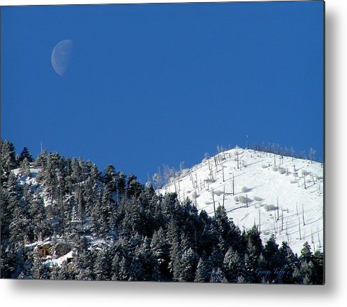 Winter Moon Sugarloaf Mountain Rocky Mountains Colorado Snow Zen Simple Fourmilecanyon Metal Print featuring the photograph Pristine Winter Morning by George Tuffy
