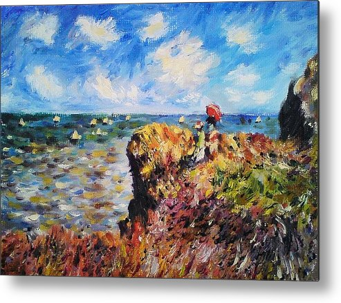 Claude Metal Print featuring the painting Promenade At Pourville by Peter Kupcik