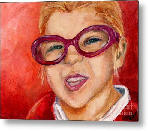 Portrait Metal Print featuring the painting Purple Glasses by Linda Vespasian