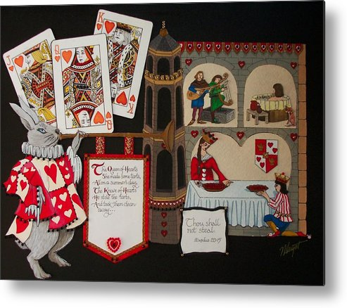 Nursery Rhyme Metal Print featuring the painting Queen Of Hearts by Victoria Heryet