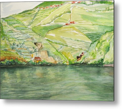 Duoro Metal Print featuring the painting Quintas Along The Duoro by T Aung