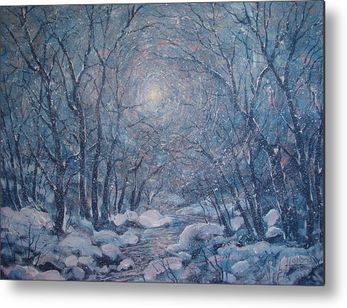 Snow Landscape Metal Print featuring the painting Radiant Snow Scene by Leonard Holland
