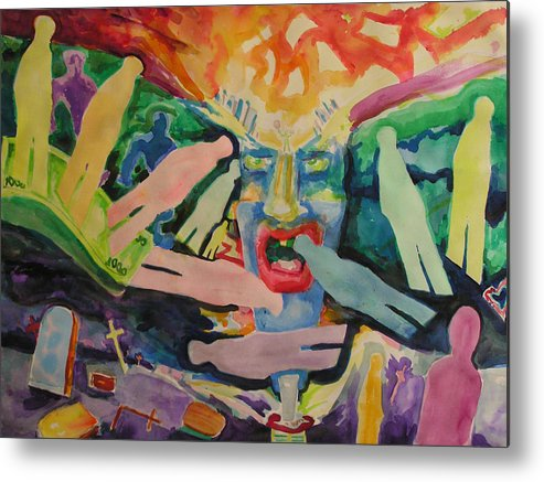 Watercolor Metal Print featuring the painting Rage Of Depression by Mark Sharer