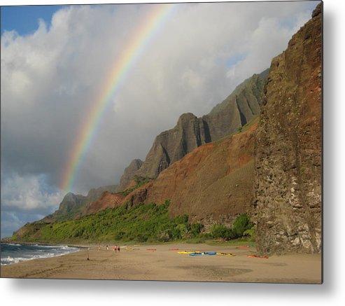 Rainbow Landscape Over Kalalau At Sunset Metal Print featuring the photograph Rainbow At Kalalau by Ileana Carreno