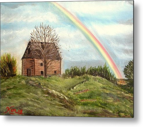 Barn Landscape Rainbow Metal Print featuring the painting Rainbow by Kenneth LePoidevin