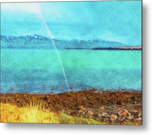 Iceland Metal Print featuring the digital art Rainbow On Videy by Frans Blok