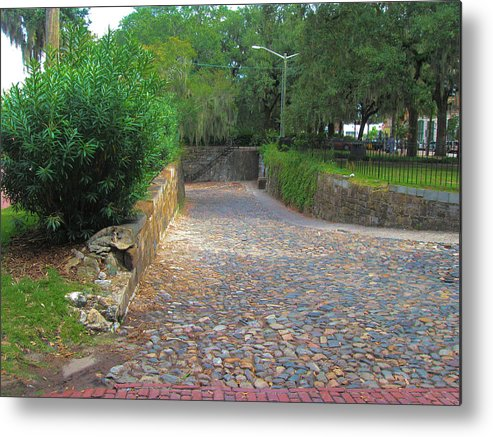 Cobblestone Metal Print featuring the photograph Ramp To River Street by Juliana Blessington
