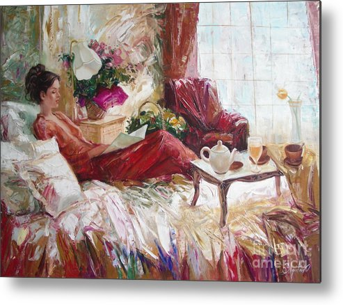 Art Metal Print featuring the painting Recent News by Sergey Ignatenko