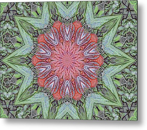Amaryllis Metal Print featuring the digital art Red Amaryllis Trio Kaleidoscope by Marian Bell