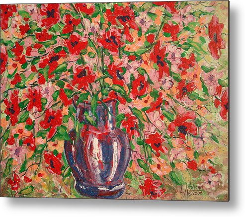 Flowers Metal Print featuring the painting Red And Pink Poppies. by Leonard Holland