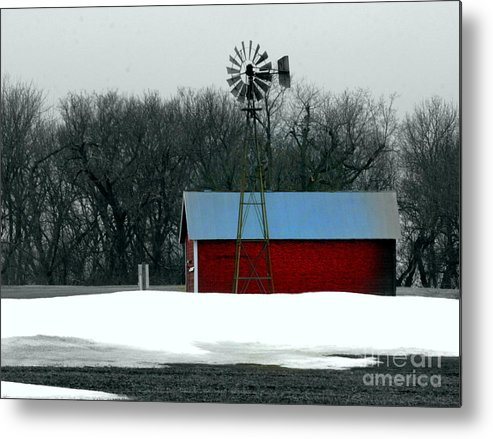Red Barn Metal Print featuring the photograph Red Barn And Windmill by Julie Lueders