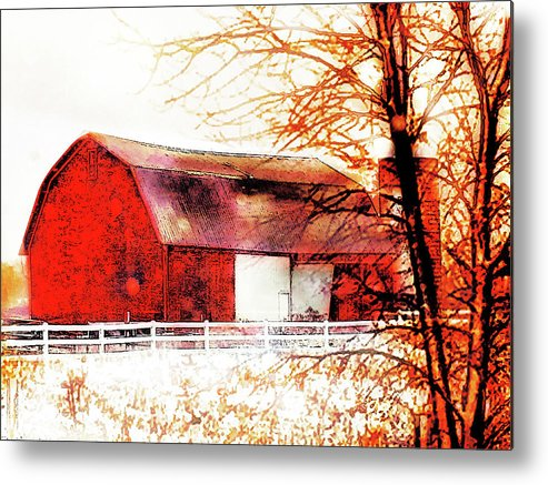 Red Barn Metal Print featuring the photograph Red Barn by Gina Signore