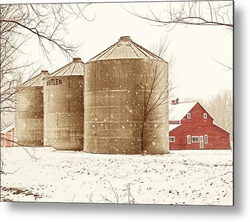 Americana Metal Print featuring the photograph Red Barn In Snow by Marilyn Hunt