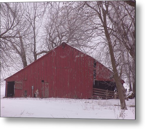 Iowa Metal Print featuring the photograph Red Barn Trees Snow by Kevin Callahan