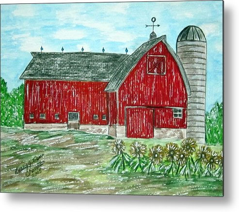 Red Metal Print featuring the painting Red Country Barn by Kathy Marrs Chandler