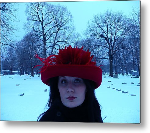 Cemetary Visit Made Festive By Alyssa Metal Print featuring the photograph Red Hat On A Blue Day by Cynthia Conte