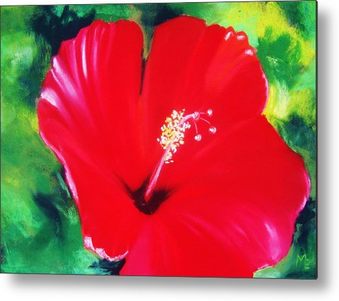 Bright Flower Metal Print featuring the painting Red Hibiscus by Melinda Etzold