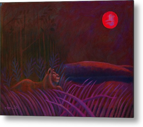 Lions Metal Print featuring the painting Red Night Painting 48 by Angela Treat Lyon
