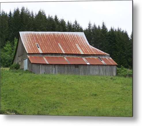 Barn Metal Print featuring the photograph Red Rusty Tin Roofed Old Barn Washington State by Laurie Kidd