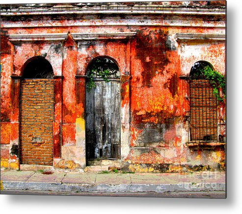 Darian Day Metal Print featuring the photograph Red Wall By Darian Day by Mexicolors Art Photography