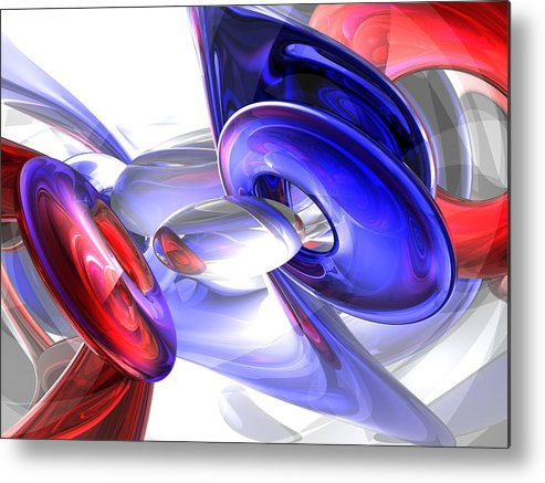 3d Metal Print featuring the digital art Red White And Blue Abstract by Alexander Butler