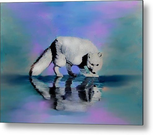 Foxes Metal Print featuring the painting Reflections by Liz Borkhuis