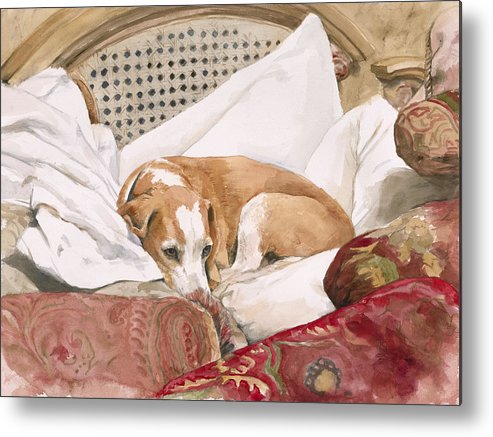 Dog Metal Print featuring the painting Regal Beagle by Debra Jones