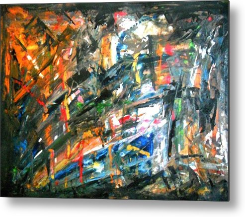 Acrylic Abstract Metal Print featuring the painting Restraint by Praveen Raju