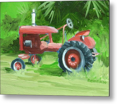 Tractor Farm Equipment Metal Print featuring the painting Retired Farmall by Robert Rohrich