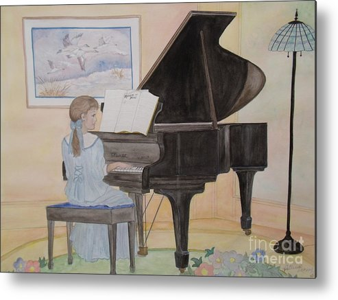 Piano Metal Print featuring the painting Rhapsody In Blue by Patti Lennox
