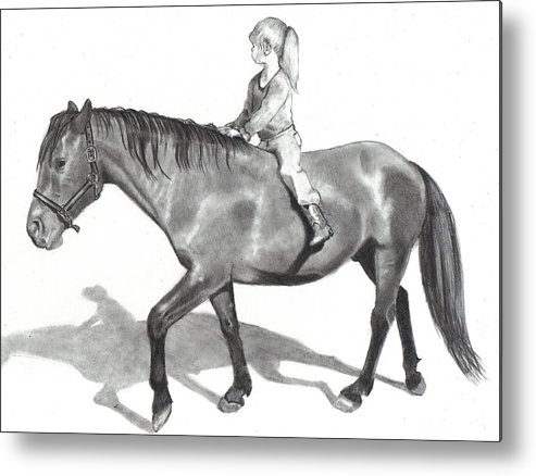Equine Art Metal Print featuring the drawing Riding Bareback by Joyce Geleynse