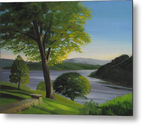 Landscape Metal Print featuring the painting River Bend by Robert Rohrich