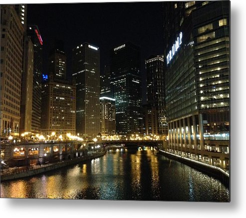 The River In Chicago Metal Print featuring the photograph River In Chicago by Sandy Bloom