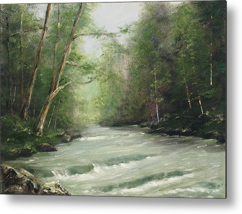Landscape Metal Print featuring the painting River Retreat by Rebecca Kimbel