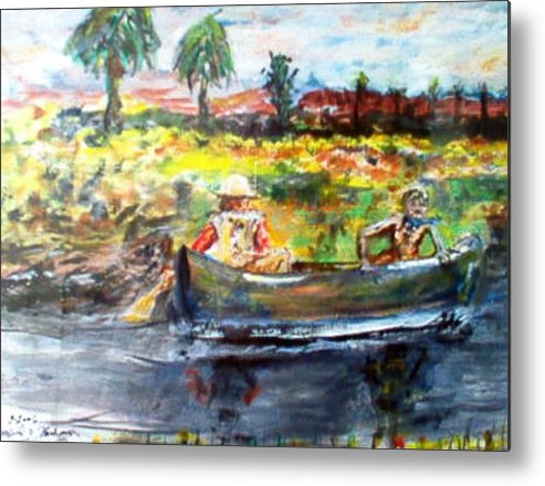 Lovers Canoing Florida River In Winter Metal Print featuring the painting River Romance by Alfred P Verhoeven