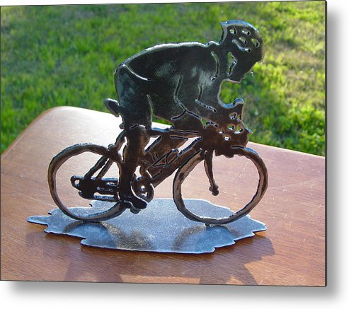 Steel Metal Print featuring the sculpture Road Race by Steve Mudge
