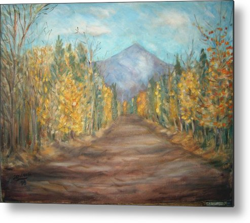 Landscape With Mountain Fall Trees Metal Print featuring the painting Road To Mountain by Joseph Sandora Jr