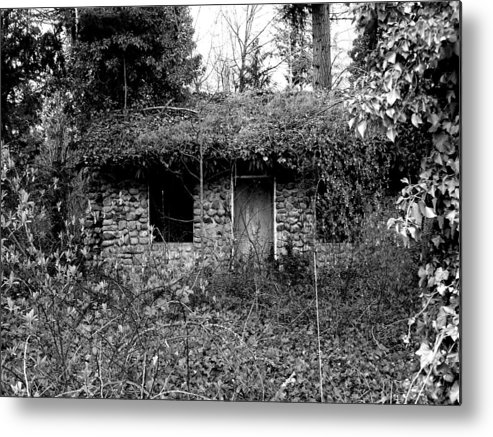 Digital Photography Metal Print featuring the photograph Rock Cabin Black And White by Laurie Kidd